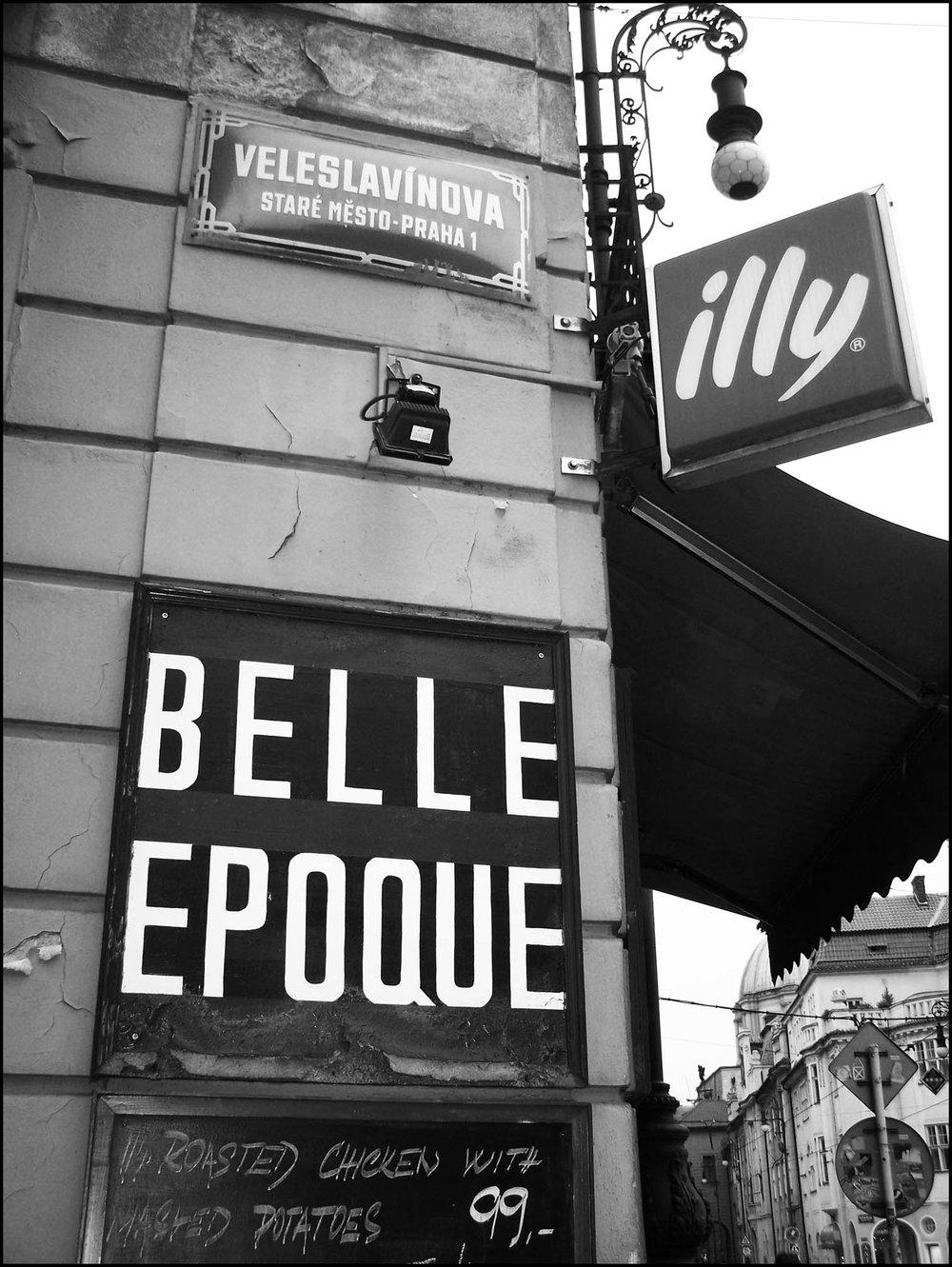 B&W Prague Street Scene