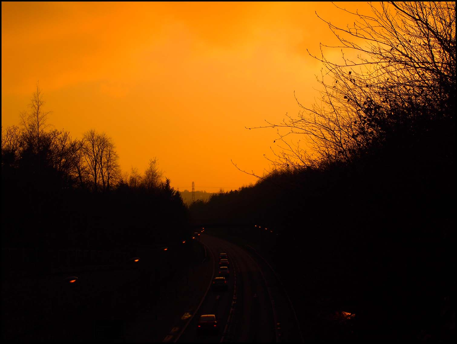 Sunset from the motorway bridge