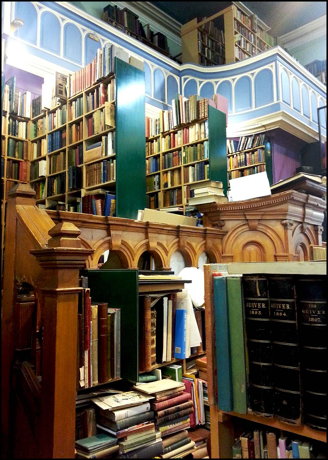 Books piled high in Leakey's bookshop, Inverness