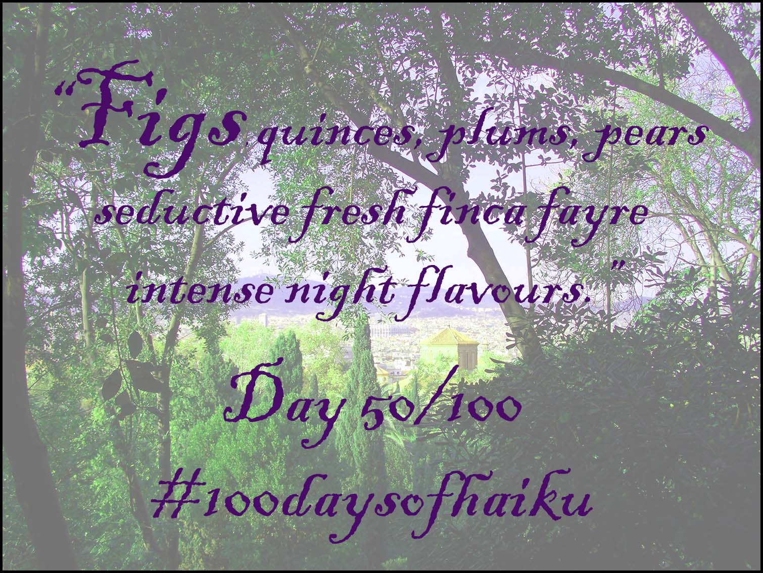 50 days of haiku - figs, quinces, plums, pears