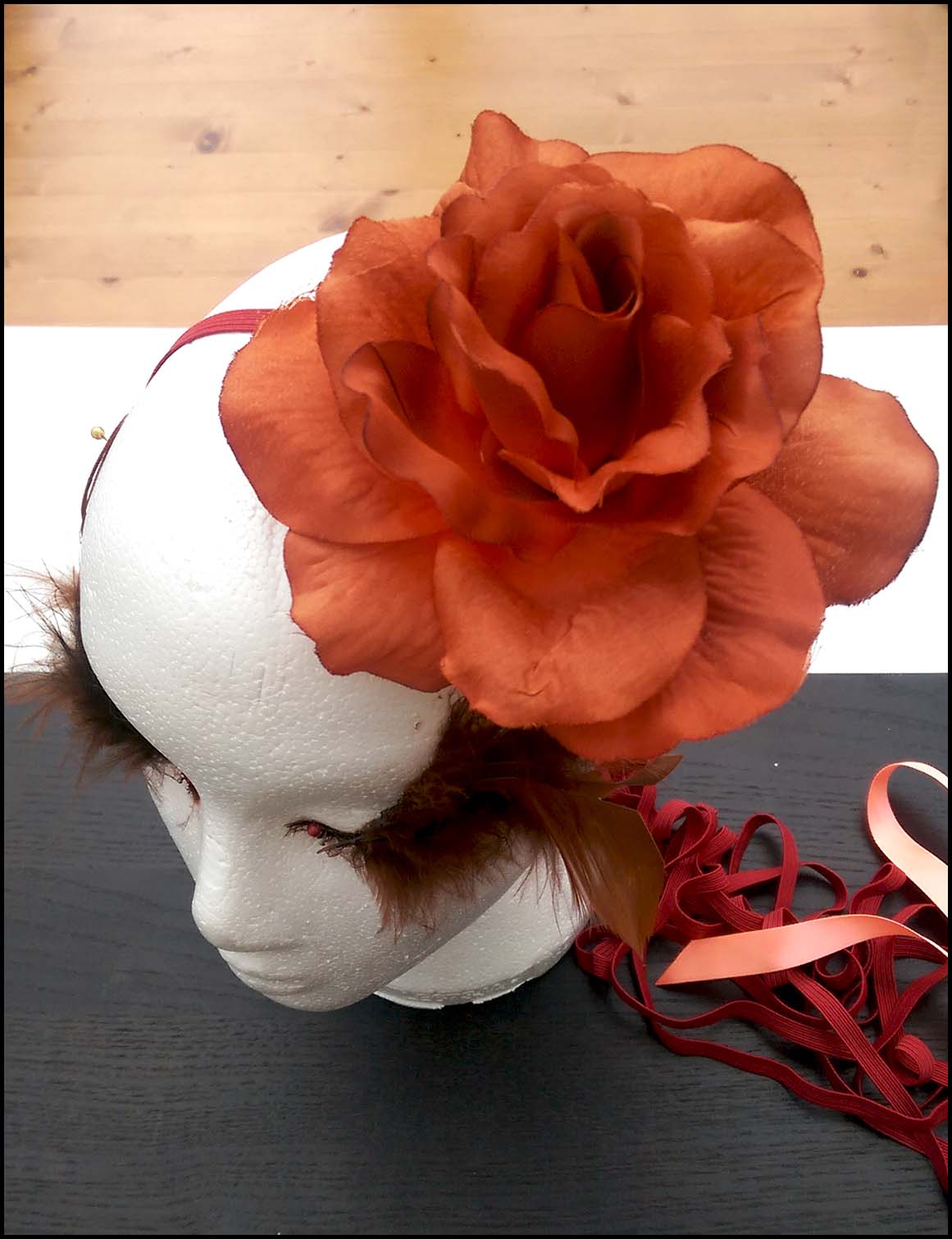 Work in progress: Orange Floral Hairband