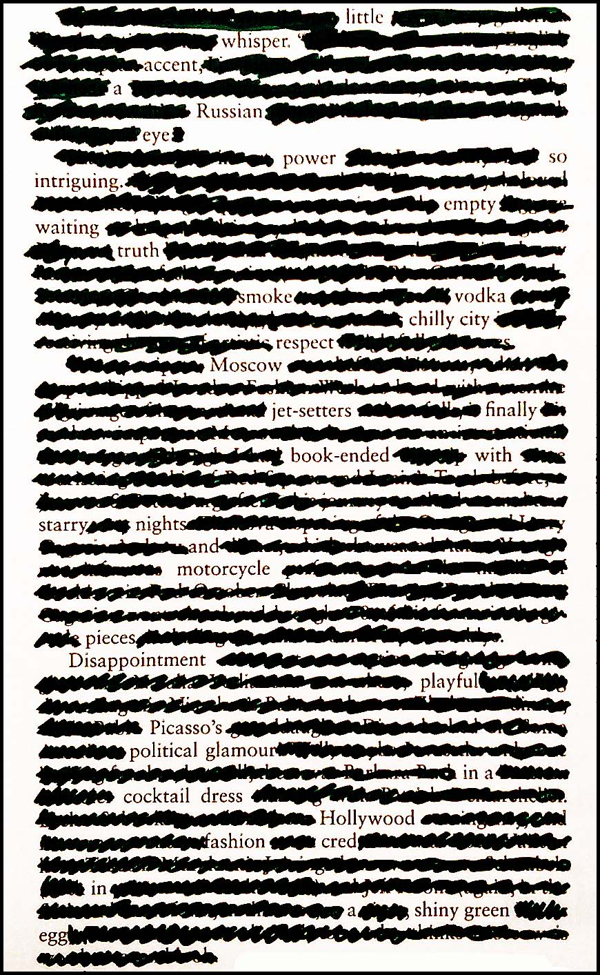 Blackout Poetry: Moscow Jet-setters