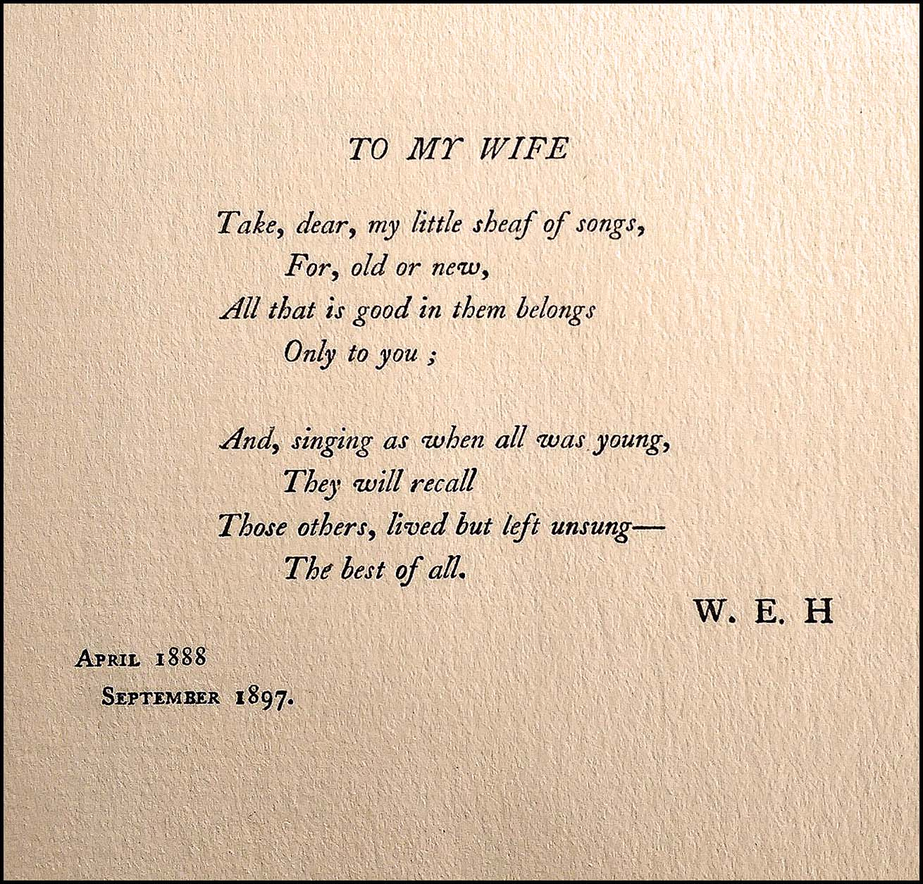 William Ernest Henley 'Poems' inscription to his wife