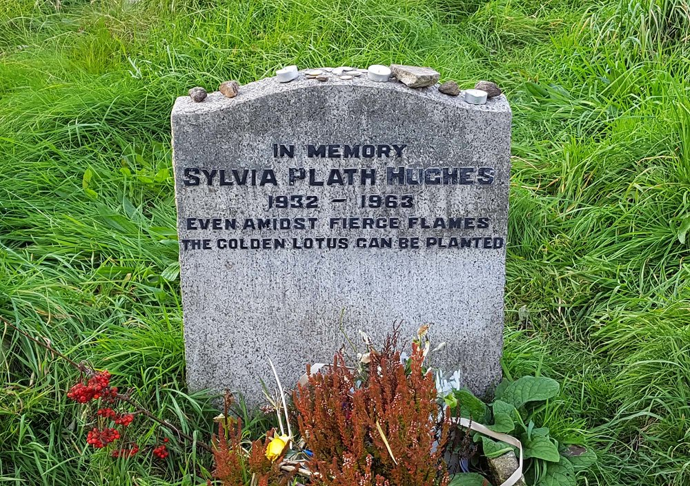 Sylvia Plath's headstone, St Thomas Church, Heptonstall