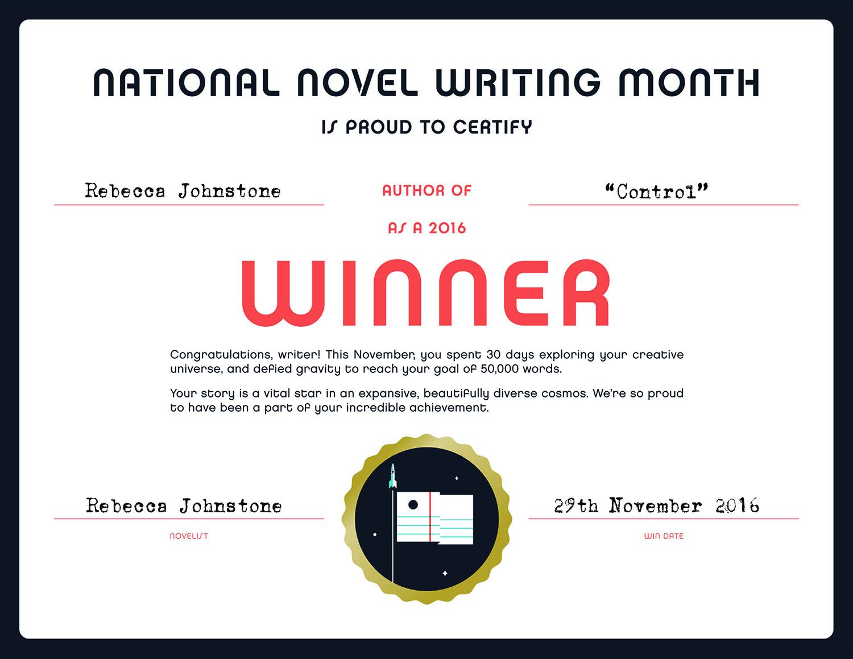 NaNoWriMo Winner Certificate 2016