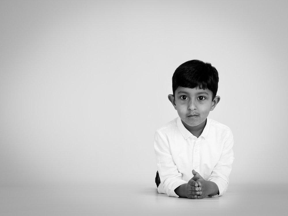 Portrait of boy with dark hair