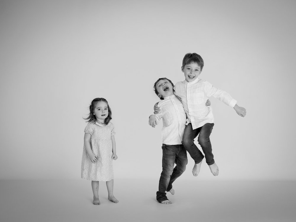 siblings playing in the studio