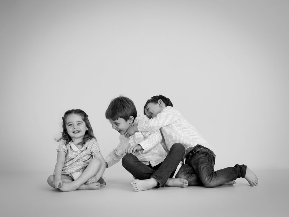 boys and sister during a photo shoot