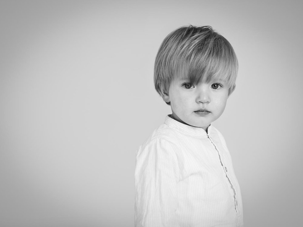 Portrait of child in white shirt