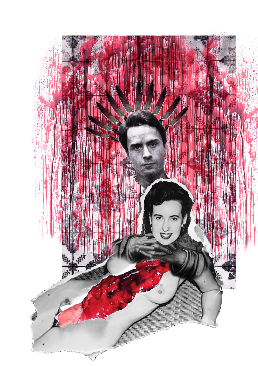 """Collage for a newspaper article on  """" Hybristophilia """", a condition in wich women tent to feel a strong affections towards convictes of sexual abuse. This Image refers specifically to Ted Bundy, a well known serial murder that received a lot of media attention and an incredible high amount of marriage proposals while incarcerated."""