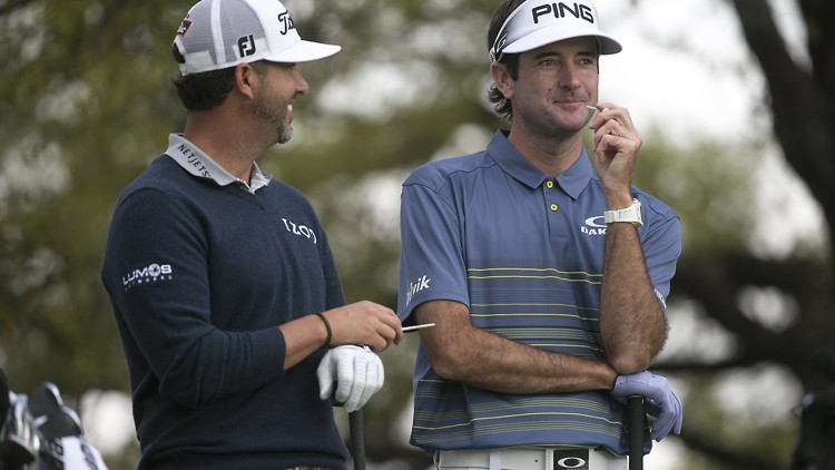 Bubba Watson with Caddie Scott Piercy