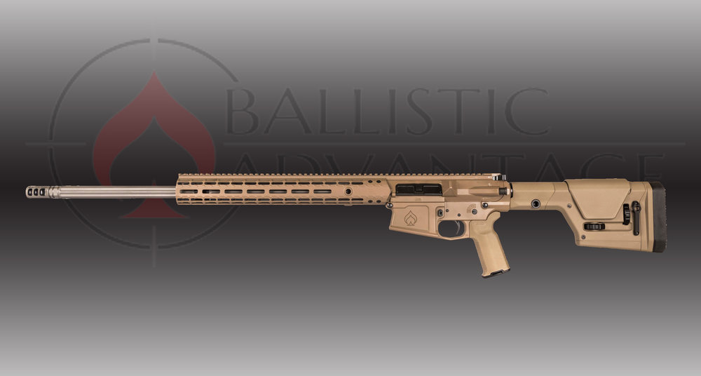 "Ballistic Advantage 6.5 Creedmoor Rifle MSRP: $1500  - • Callahan Camo cerakote job by Republic Rifle • BA10 Upper and Lower Receiver• Aero Precision M5 Enhanced 15"" Gen 2 MLOK Handguard• 18"" 6.5 Creedmoor Midlength Fluted Barrel, Premium Series• Magpul CRS Stock• Geiselle SSP Trigger• Dead Air Armament Break/QD Mount"