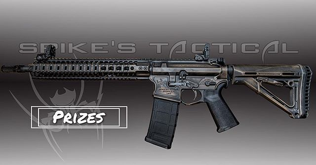 "Visit the @spikes_tactical booth and enter you name in the giveaway! Spikes Tactical has donated their Tactical Assault 14.5"" with a custom Spike cerakote paint job. MSRP: $2430.00"