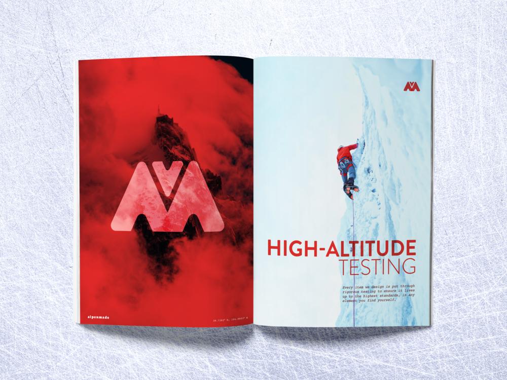 alpenmade catalog spread design