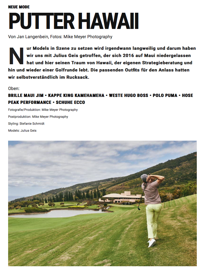 Julius Geis, Mike Meyer, GolfPunk, Maui, King Kamehameha Golf Club (article)