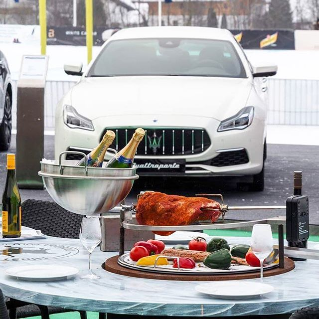 Excited to get back to @kitzbuehel_tirol? How about after seeing this? @maserati_de #snowpolo #kitzbuehel #kitzbühel #maserati #quattroporte #snow #polo #pololifestyle #poloplayer #polopony #car #tirol #food