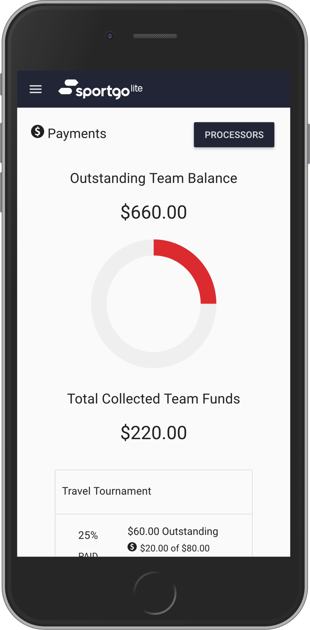 Payment Collection & Tracking - Quickly assign fees, collect and track money from your entire team to avoid last minute payment hassles.