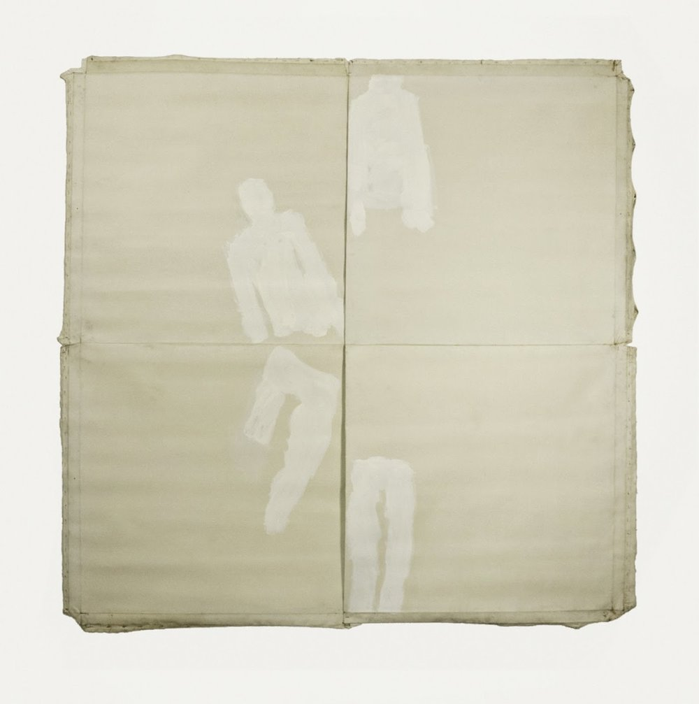 "Persons Quadrature; no date; oil on untreated linen; 4 canvases each 37x36"", 74x72"" total"