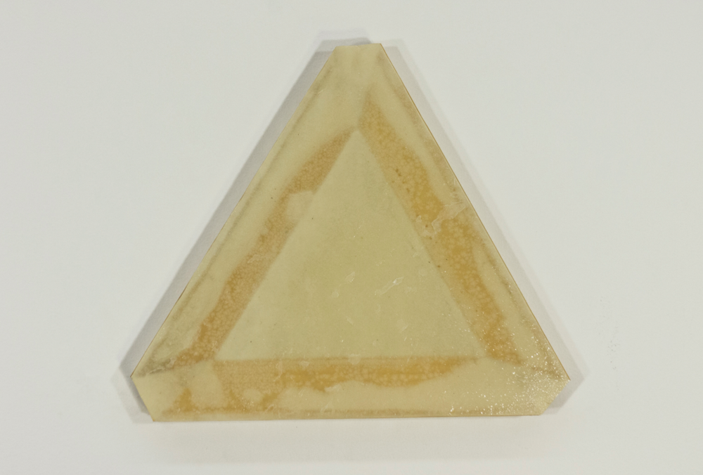 "Triad; three 10"" stretcher bars, blotter paper, resin; 9 ½ x 11"""