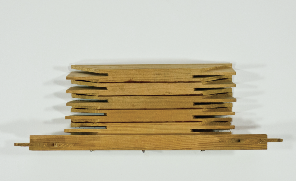 B'architecture; glue, stretcher bars; 11 ½ x 3 ¼ x 3 1/8""
