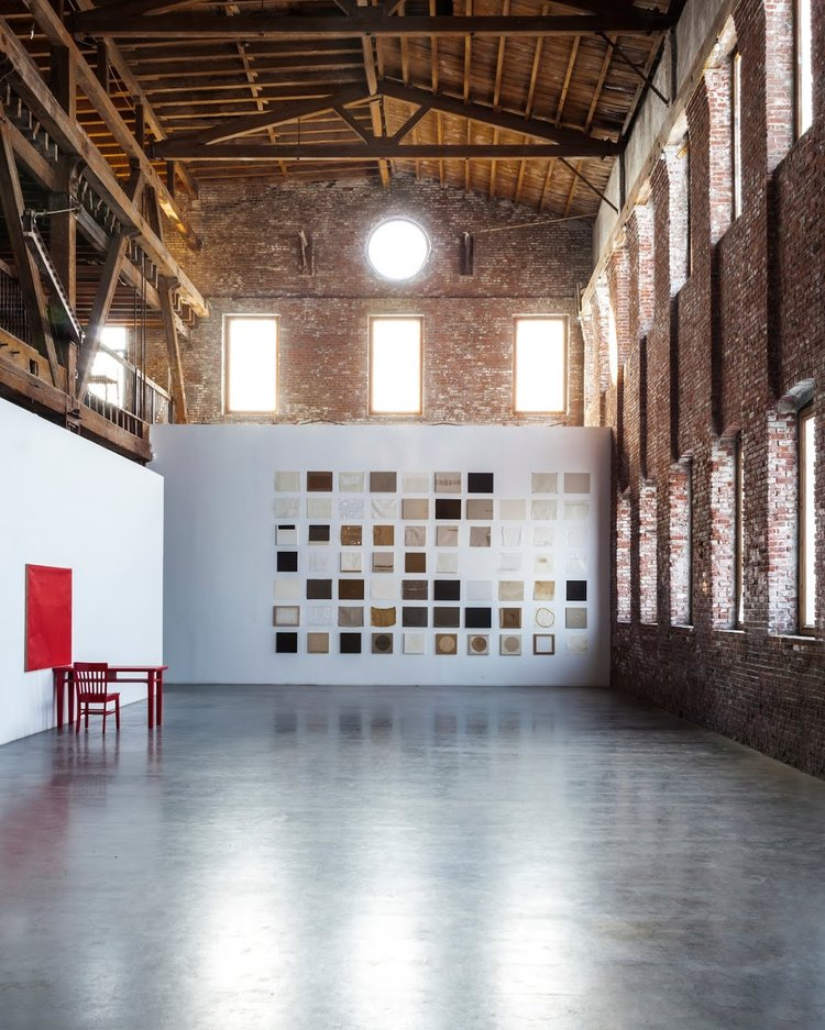 Pioneer Works installation, 2014, Primer Sets pictured on back wall, Interiors (1978) on left