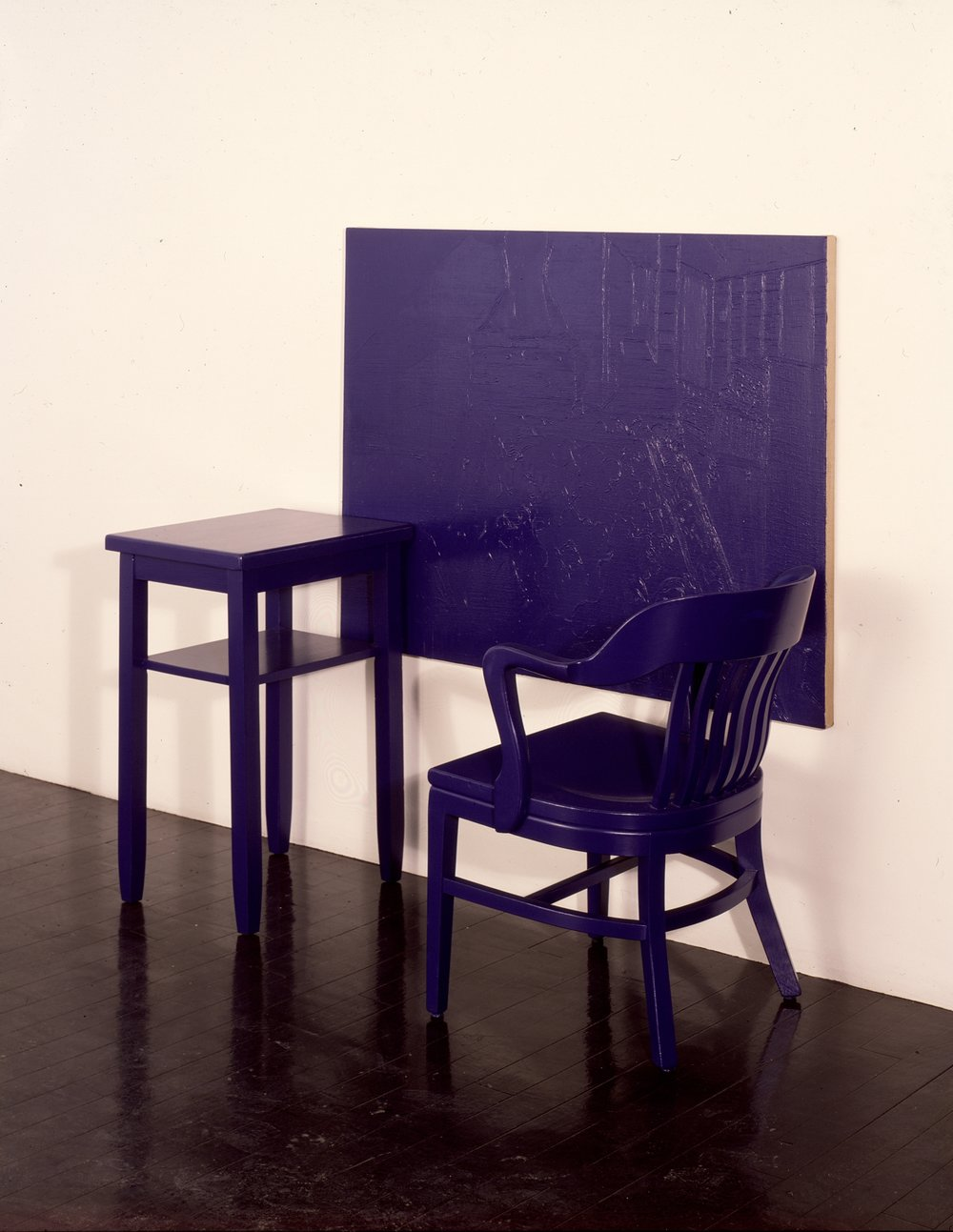 Cobalt Blue, Hue Deep - Stable; table, chair, oil on canvas, oil painting on wall with resin on glass overlay; dimensions variable