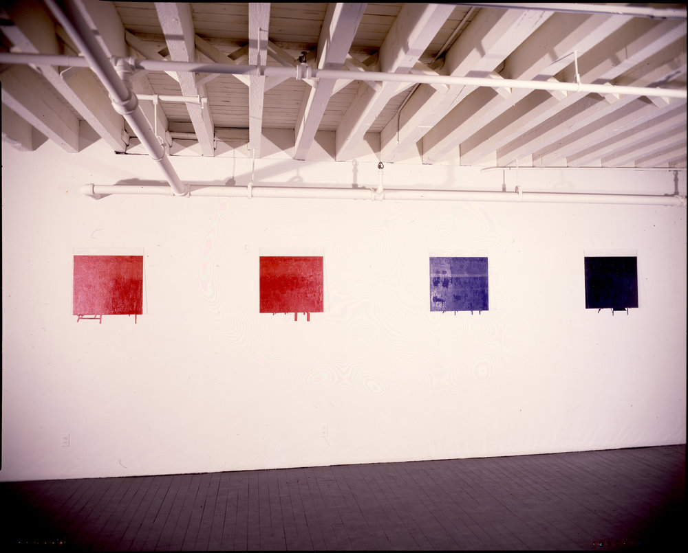 John Weber Gallery installation, 1978, glass overlays pictured