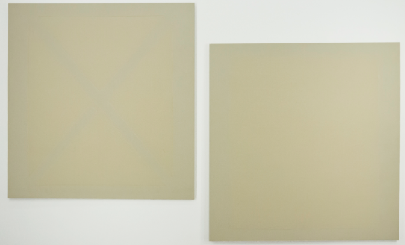 The Fig; rabbit skin glue and emulsions on raw linen; two paintings, each 48 x 46""