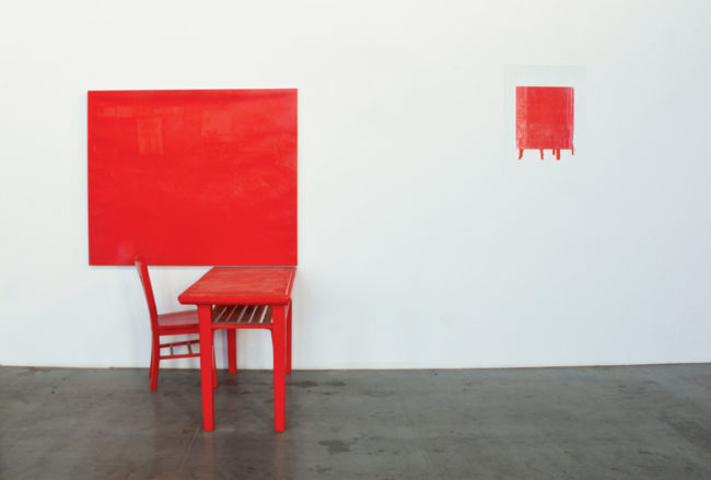 Interiors  series :   Cadmium-Vermillion (Barium) Red, Medium – Studio , 1978
