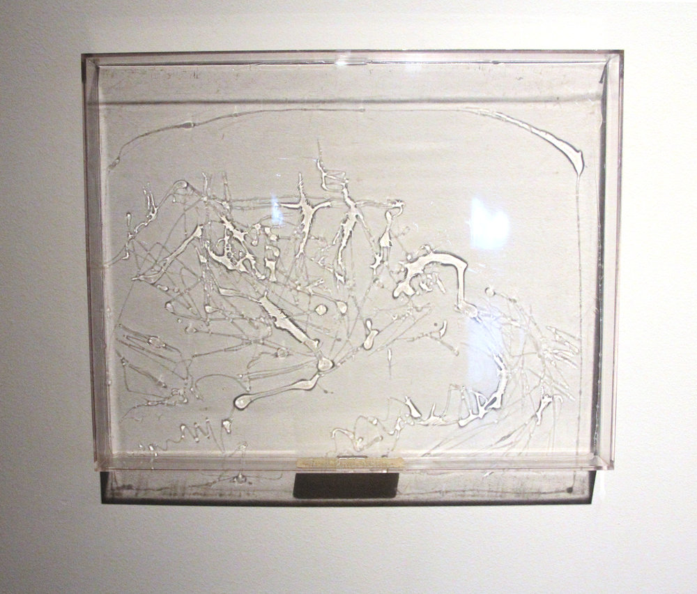 Rembrandt's A hayrick near a Farmhouse with a Dove-Cote; Continuous Lineage Drawings series; 1973; Acrylic resin/Emulsion on Perspex; 11¼ x  14¼""