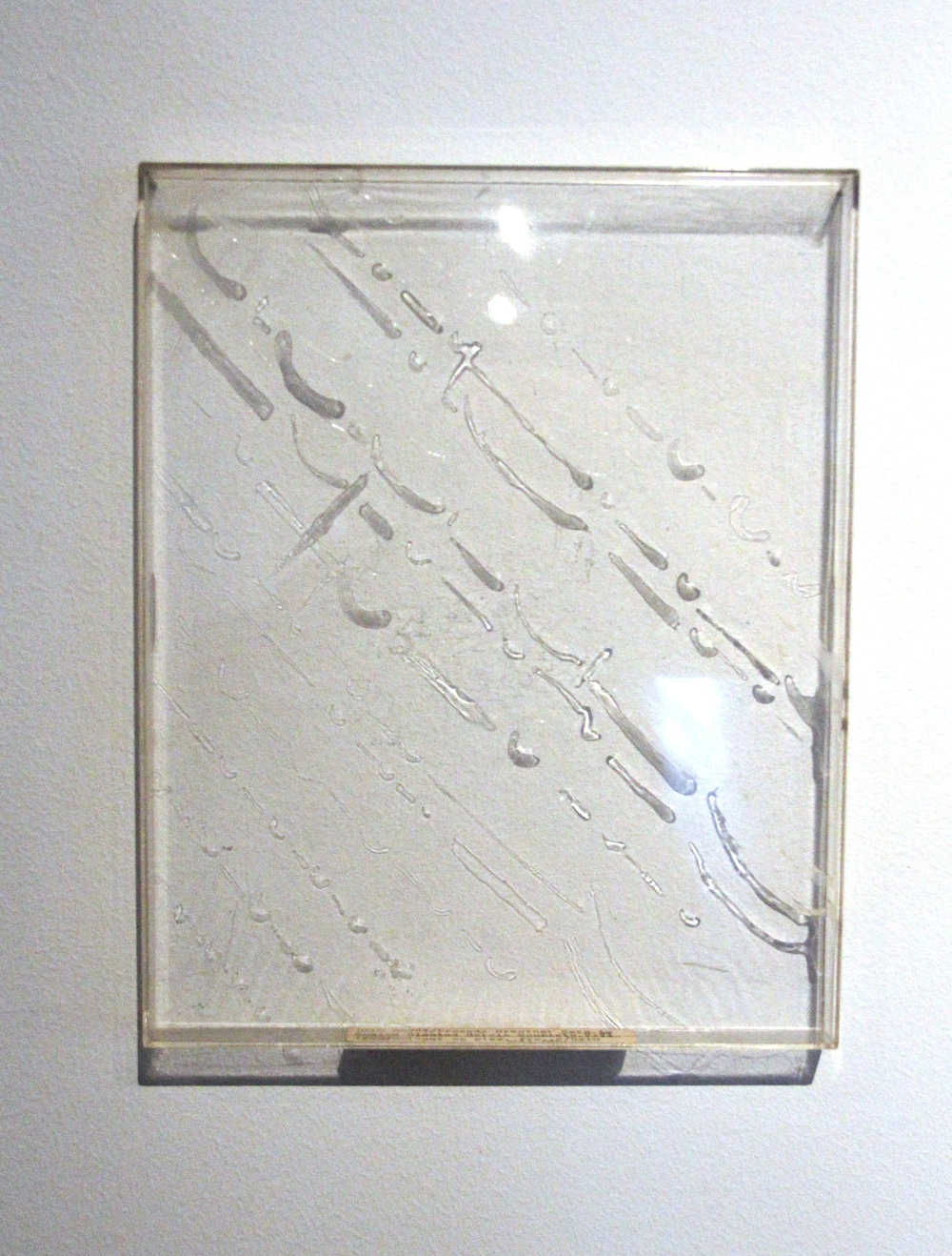 Zero to Twelve Slanted Heroic Couplets V & VI; Prosody Drawings series; 1973-1976; Acrylic and resin emulsion on plexiglass; 11 ¼ x 9 ¼""