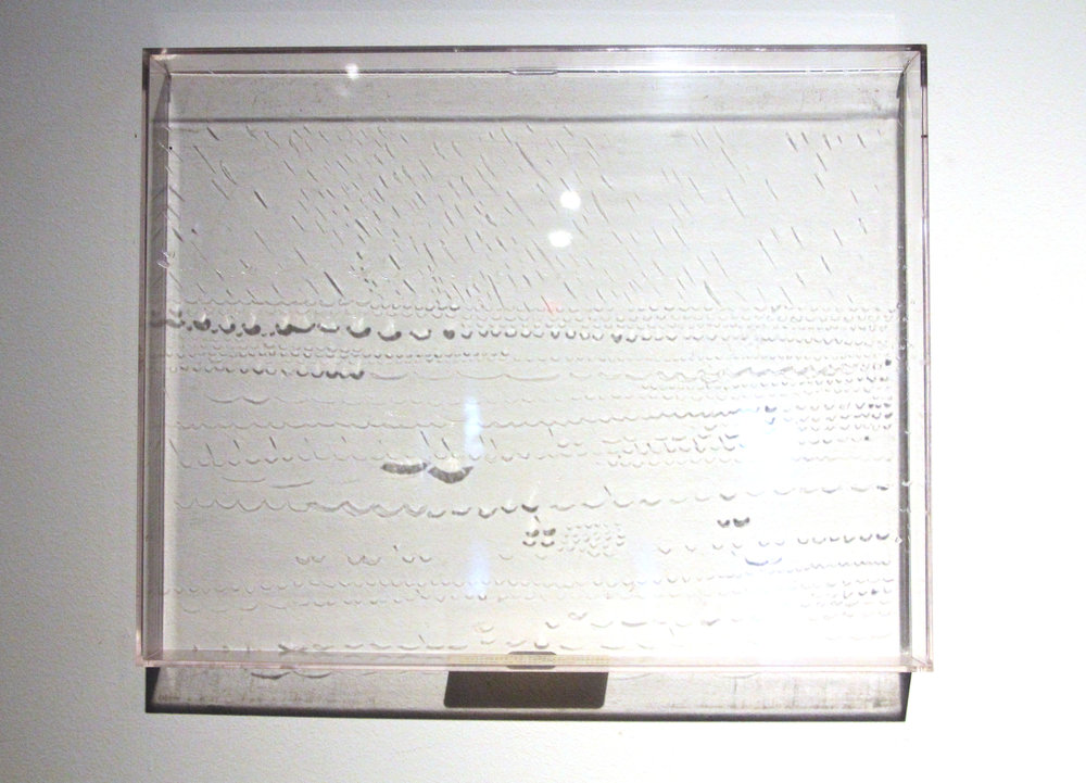Watermill in Pyrrhics/Caesuras; Prosody Landscape Drawings series; 1973-1976; Acrylic resin/Emulsion on Perspex; 11¼ x  14¼""