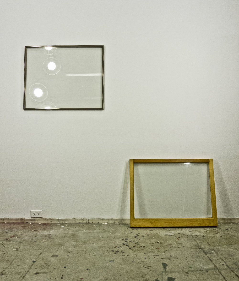 "Quote, Deep Structure (Set IV) and Window (Set IV) from Leonardo Perspective series; both 1976; metal frame, glass, resin,  24x30"" and wood frame, glass, resin, 24x30"", respectively"