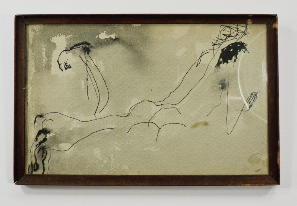 Ann and Nic on the Beach; circa 1952; Ink and wash on watercolor paper; 12 7/8 x 8 3⁄4; Item #025