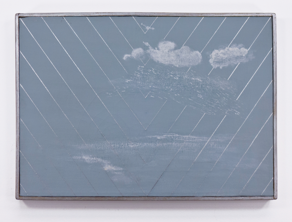 "White Rain; 1966; Oil on canvas; 17 1//4 x 12 1⁄4"" in painted frame; Item #032"