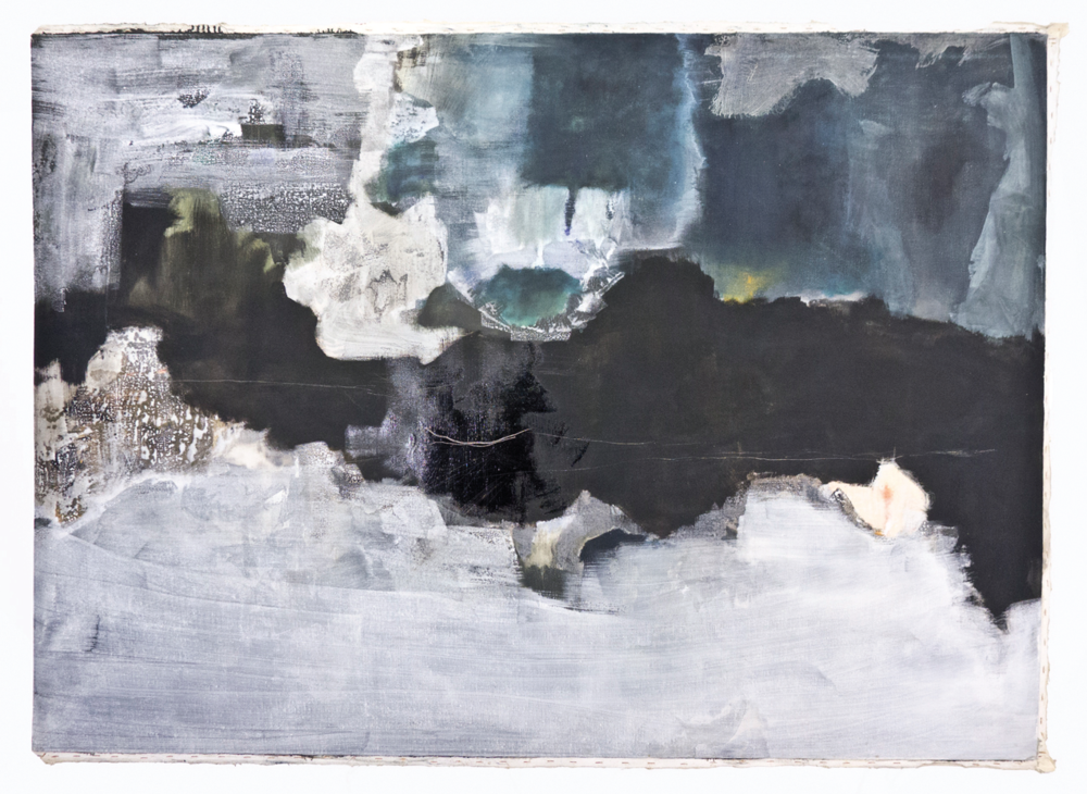 "Ferrous Moon, Bottomland; No date; Oil and Glaze on canvas; 49 3⁄4 x 69 3⁄4""; Item #006"