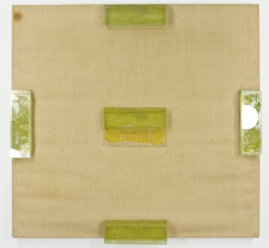 """View of the Academy; Glass mounted on canvas on stretcher; 30x33""""; Item #080"""