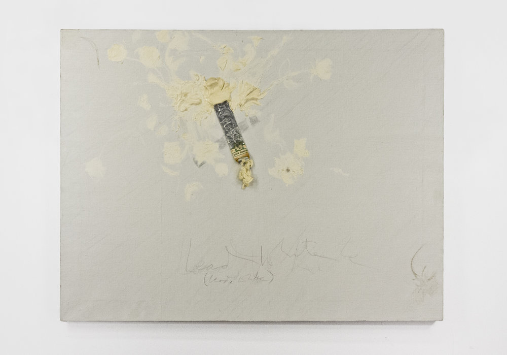 """Still Life with Rhoses (sic); Oil with paint tube on linen; 34x45""""; Item #082"""