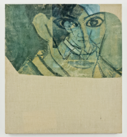 """Man in White Linen Suit; Picasso reproduction with emulsion on sized linen 20x18""""; Item #084"""