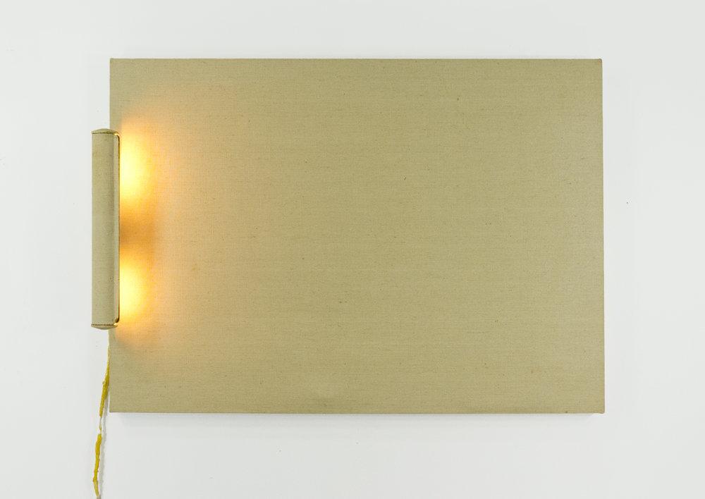 "Interior; Canvas, resin, light bulbs; 26.5x36""; Item #086"