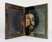 """Portrait of my Assistant; Oil, resin, glass and Velazquez reproduction on double frame, painted both sides; 12x10x10""""; Item #088"""