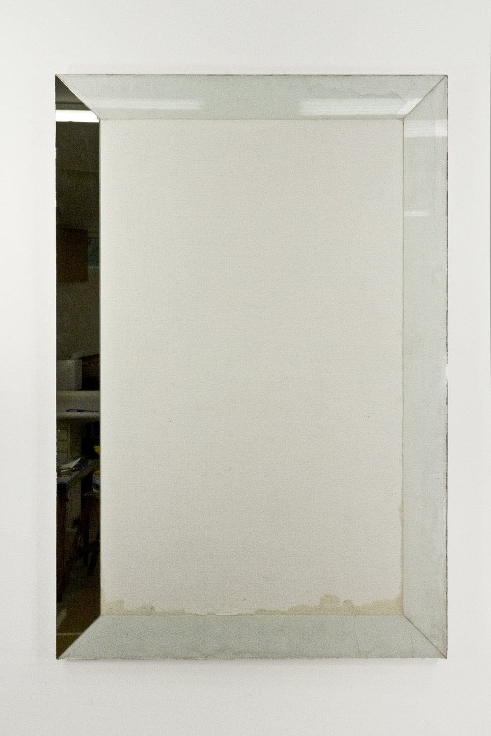 """Self Portrait; Primed linen with resin, glass and mirror; 57 3⁄4 x 38 1⁄4""""; Item #097"""