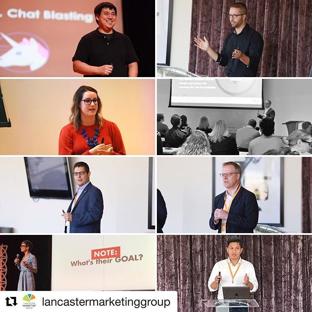 #Repost @lancastermarketinggroup ・・・ Action shot of several of the Insight Marketing Conference speakers  @kim_larry @justinemig @brookesellas @lancebachmann @marcusgrimm @tamsenwebster @sovannamam