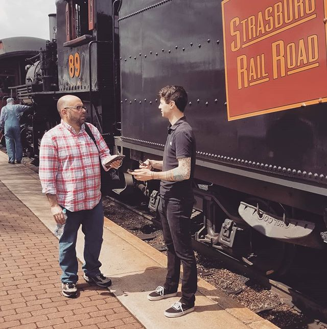 Teamwork makes the dream work! Our EP, Mike, is working with Matt from @goodthreedesign on the final touches of a project for @strasburgrailroad. We are excited to release this activation to the public this summer.  #lancasterpa #teamwork #teamworkmakesthedreamwork #lancastercounty #design #mobile #discoverlancaster #trains #trainspotting #strasburg