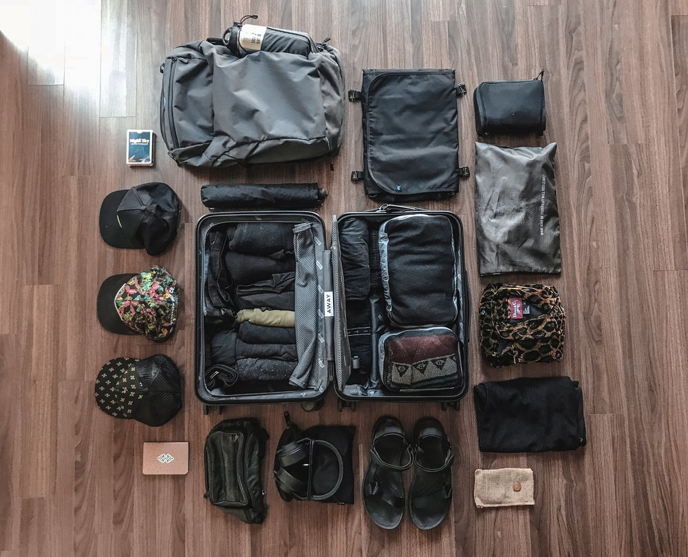 our travel gear knolled out