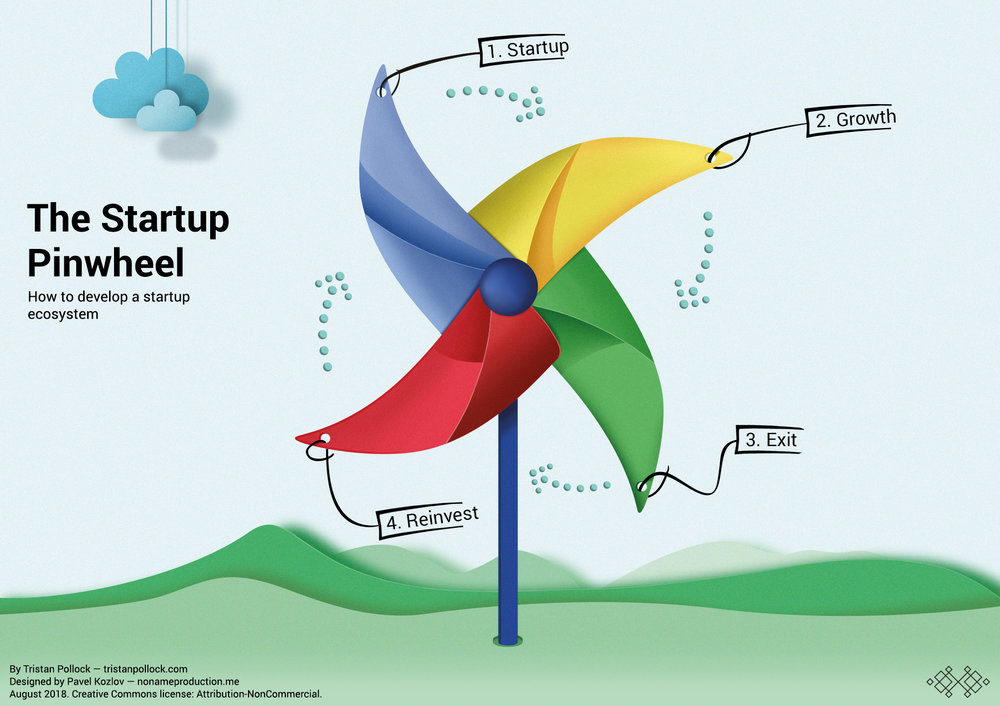 the startup pinwheel for developing startup ecosystems