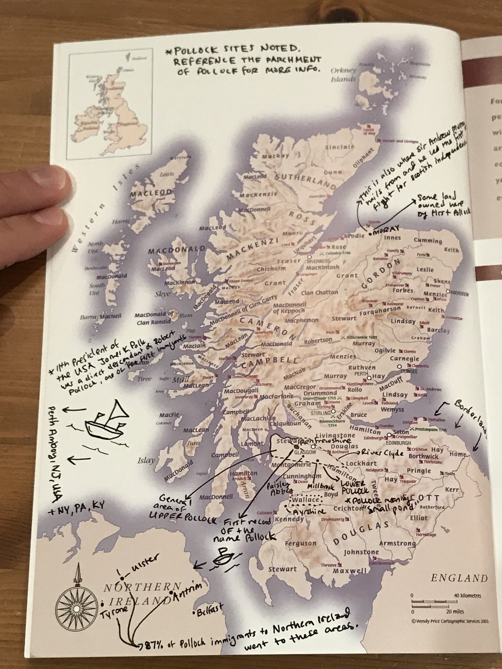 Clan Pollock map of migration by Tristan Pollock