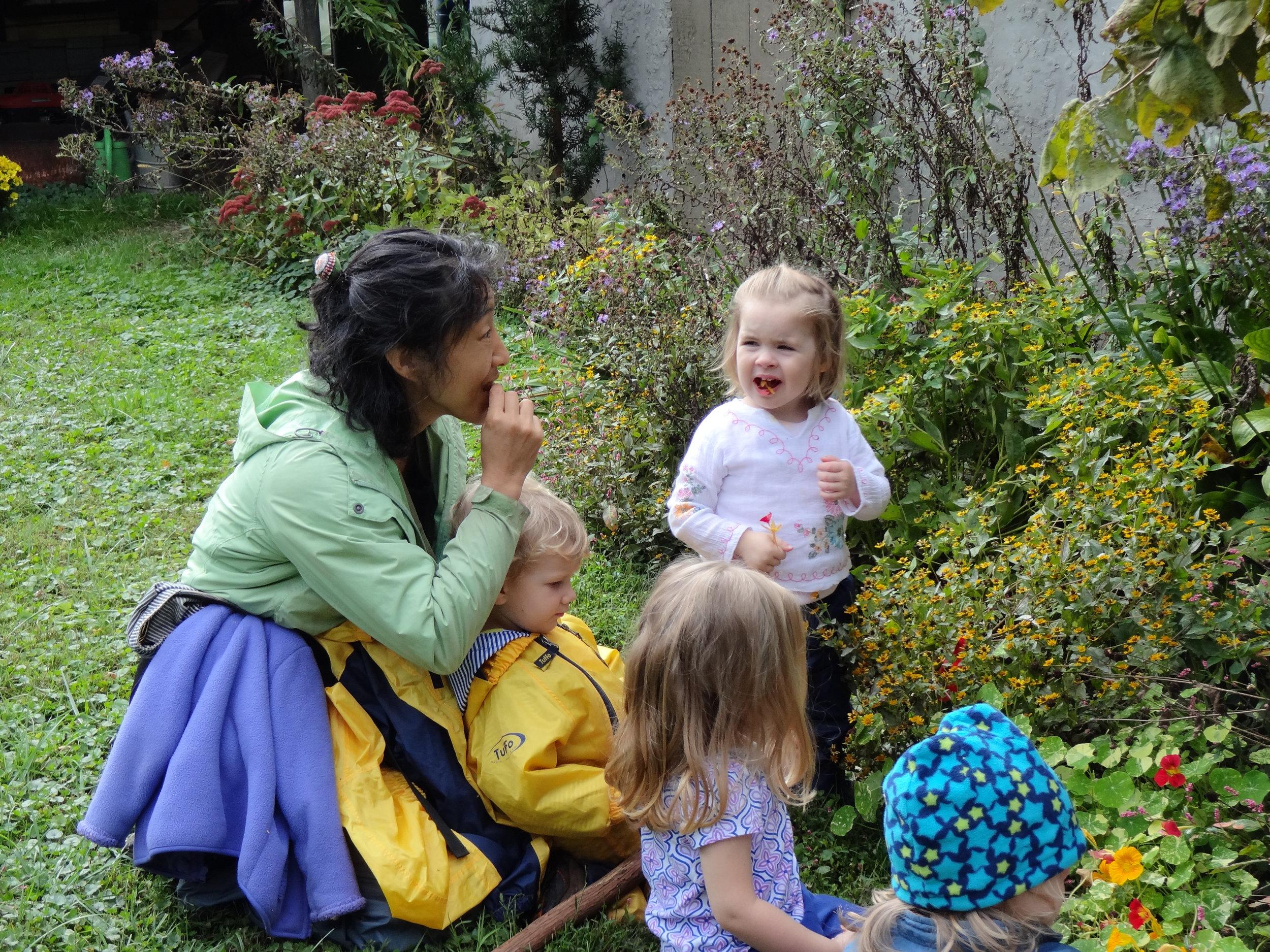 At Becky's Garden, we taste nasturtium.  We talked about different flavors.