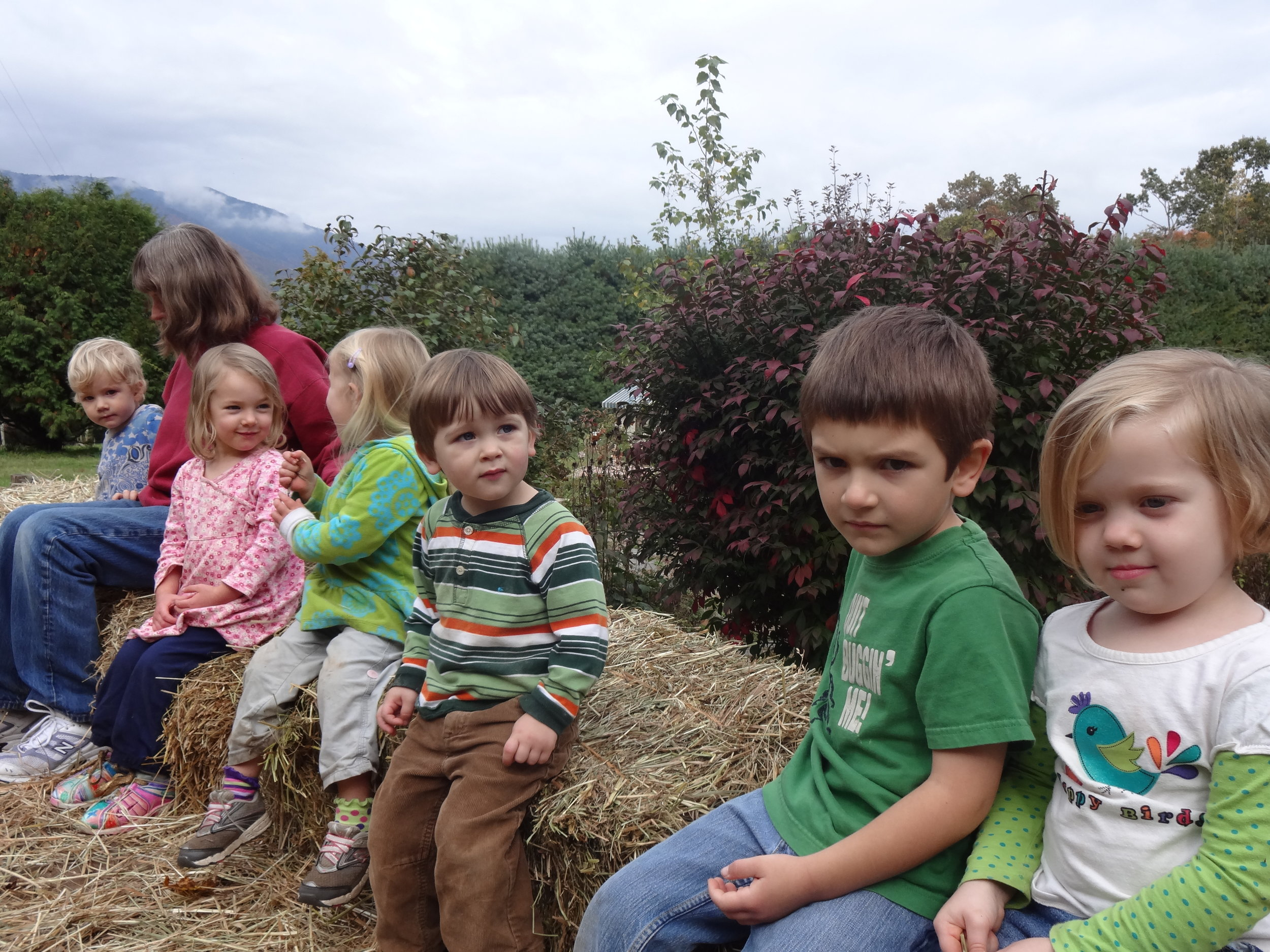 Here we go on the hayride!