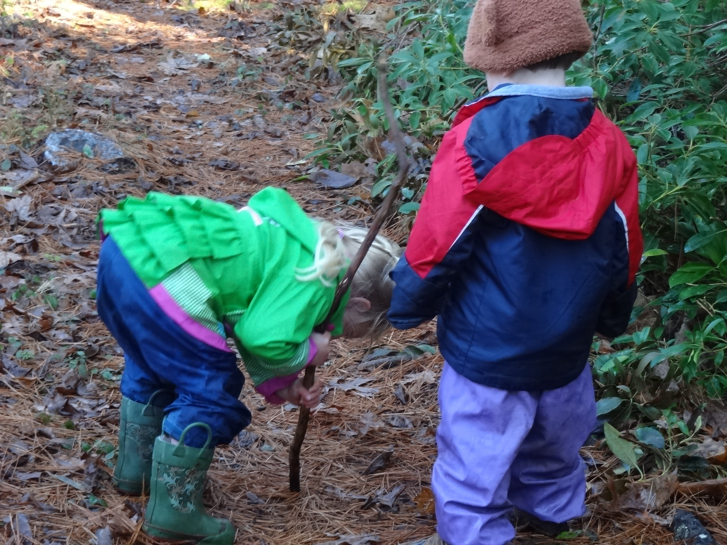 We allow children to play with sticks.  Sticks are used as an important tool for digging, reaching, pointing, hitting (not each other), hanging, and much more.